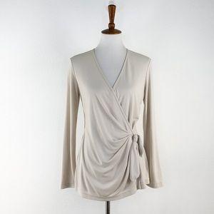 St. John Ivory Faux Wrap Side Tie Tunic Blouse